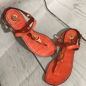 Tory Burch Orange Croc Thong Sandals sz 8